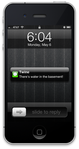 Text message from Twine on an iPhone